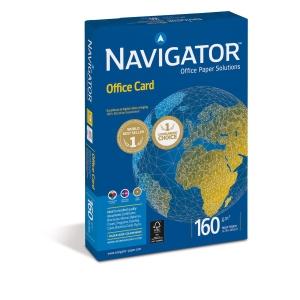 Pacote de 250 folhas de papel NAVIGATOR Office Card A4 de 160g/m2 branco