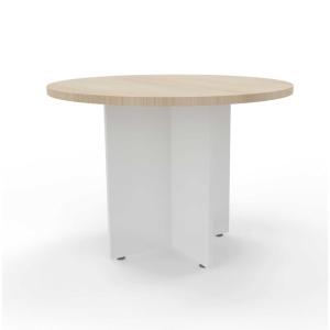 Mesa de reuniões redonda com pé de madeira carvalho/branco 120 cm