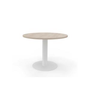 Mesa de reuniões redonda com pé de metal carvalho/branco Diam: 120 cm