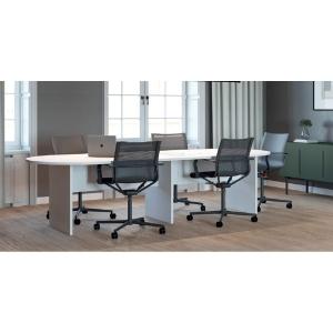 Mesa de reuniões oval com pé de madeira branco/branco 200 x 110 x 75 cm