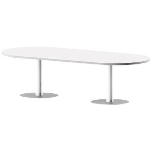 Mesa de reuniões oval com pé de metal branco/branco 200 x 110 x 75 cm