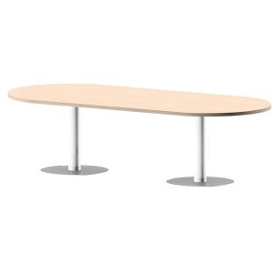Mesa de reuniões oval com pé de metal carvalho/branco 200 x 110 x 75 cm