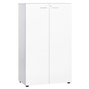Armário com portas e estantes branco/branco 146 x 40 x 80 cm