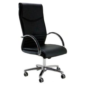 Cadeira de direcção com mecanismo de balanço Mayuag de pele preta