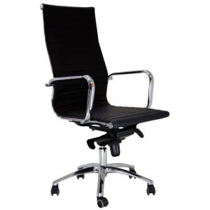 Cadeira de direcção com mecanismo de balanço Jrag pele preta