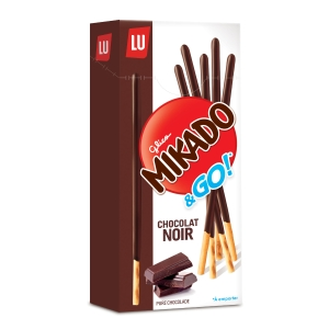Caixa 24 caixinhas de palitos com cobertura de chocolate Mikado Lu - 39 g