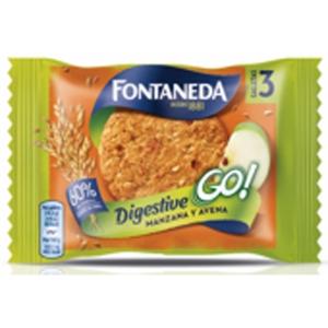 Caixa de 24 pacotes de bolachas FONTANEDA DIGESTIVE Go! de maçã e aveia 43g