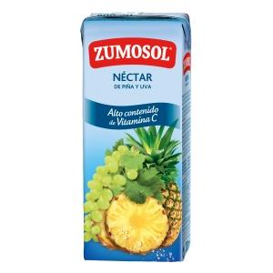 Pack de 3 pacotes de sumo de ananás e uva ZUMOSOL 200ml