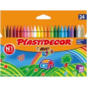 Pack 24 lápis de cera BIC KIDS Plastidecor cores variados