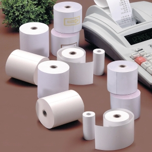 Pack 8 bobinas papel calculadora 60g/m2. 40mx75mmx65mm.