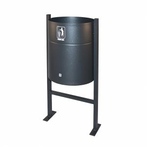 Caixote do lixo exterior grafito P65 CILINDRO  42x33x90cm