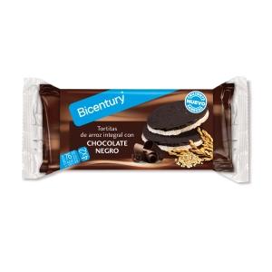 Caixa de 14 bolsas de 4 packs com 2 tortitas de arroz BICENTURY com chocolate