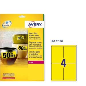 Caixa de 80 etiquetas de poliéster AVERY L6127-20 cantos rectos amarelas