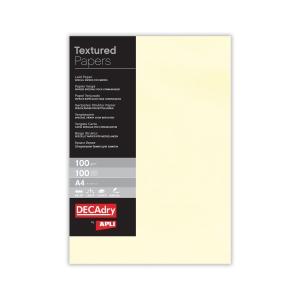 Paquete de 100 hojas de papel A4 de 100g/m2 crema verjurado