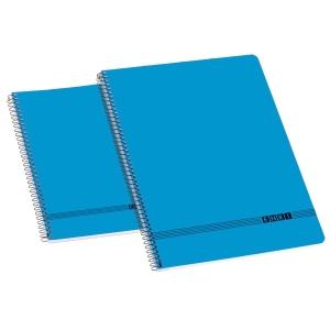 Caderno Enri Oficina espiral capa suave quarto 80 folhas liso  cor azul
