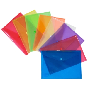 Pack 12 envelopes folio polipropileno fecho azul transparente GRAFOPLAS