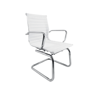 Cadeira trenó Jrag brazos aço cromado tecido nappel branco