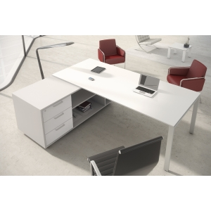 Conjunto Ocean Luxe mesa + extensão branco pés metálicos 2100x1600x750