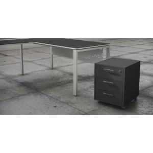 Módulo bilaminado gaveta mais arquivador acabado Luxe cor antracite 460x550x600
