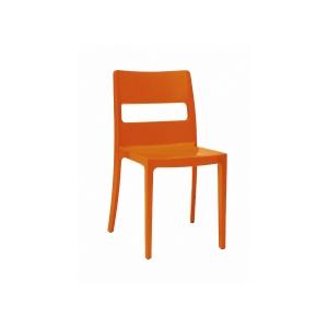 Cadeira Diva apilhável injectada em polipropilemo cor laranja
