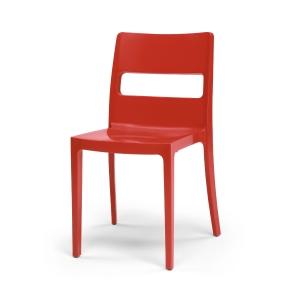 Cadeira Diva apilhável injectada em polipropilemo cor vermelha