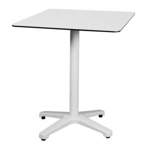 Mesa alta de refeitório fabricada em aluminio pulido cor branco 700x700x740 mm