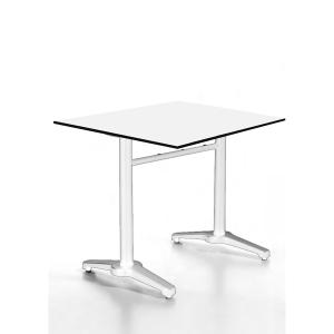Mesa de refeitório fabricada em aluminio pulido cor branco 1200x800x740 mm