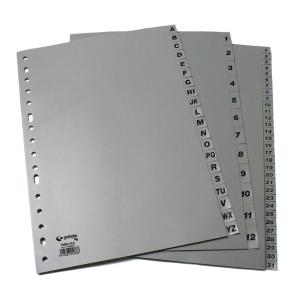 Abecedario A-Z em polipropilemo cinzento 16 taladros folio GRAFOPLAS
