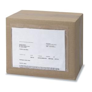 Caixa de 250 sobres de envio transparentes de 225 x 110 mm