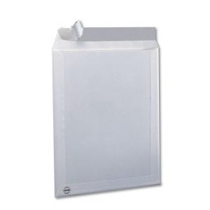 Caixa de 125 bolsas com encosto de cartão formato C4 223x324mm kraft branco