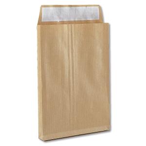 Caja 250 bolsas con foles laterais kraft verjurado 280 x 365 mm