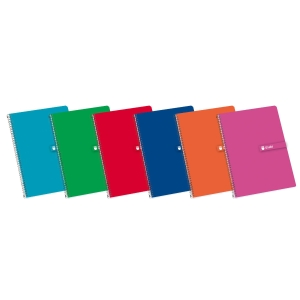 Caderno Enri espiral capa dura quarto 80 folhas 4x4 cores surtidos
