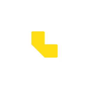 Pack de 10 etiquetas adesivas para chão TARIFOLD com forma L cor amarelo