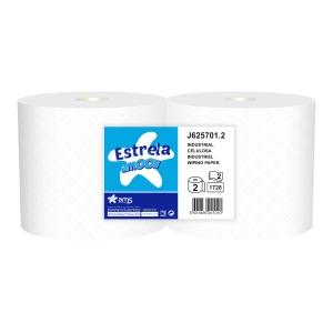 Pack de 2 bobinas industriais de papel 2 capas AMOOS 600m cor branco