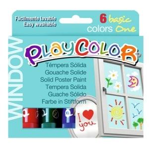 Pack de 6 têmperas sólidas PLAYCOLOR one window cores sortidas