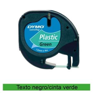 Fita autoadesiva DYMO LetraTag de plástico com texto preto/fundo verde