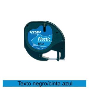 Fita autoadesiva DYMO LetraTag de plástico com texto preto/fundo azul