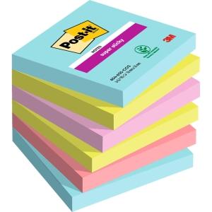 Pack 6 Blocos notas adesivas Post-it Super Sticky Miami Dimensões: 76x76mm