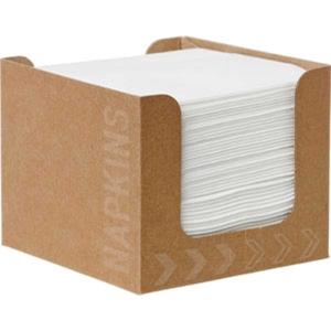 Pack de 50 guardanapos brancos no dispensador. Dimensões 200x 200