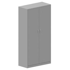 Armário com porta batente de metal LYRECO com 4 prateleiras 198x100x45 cm