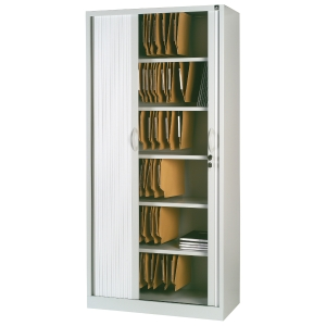 Armário de porta de persiana com 4 prateleiras 198x100x45cm cinzento alumínio