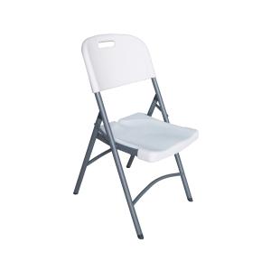Cadeira dobrável de estrutura de metal cor branca alumínio