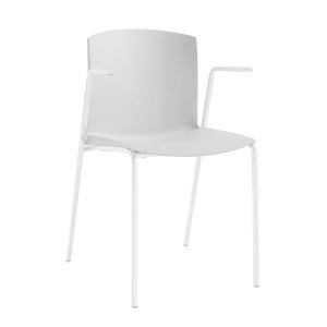 Cadeira de 4 pés de cor branca com braços
