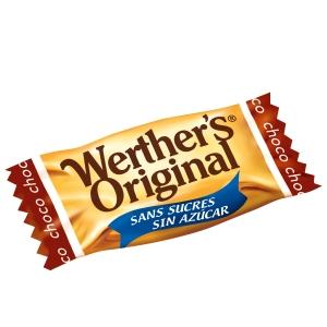 Embalagem de 1 kg de WERTHER S ORIGINAL sem açúcar e com sabor a chocolate