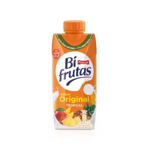 Pack de 3 pacotes de 330 ml de bifrutas tropical zero, sabor ananás e manga.