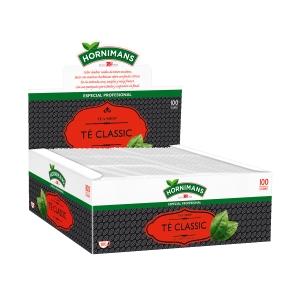 Caixa de 100 saquetas de infusão, com matizes herbáceos sobre um fundo cítrico
