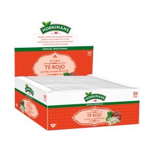 Caixa de 100 saquetas de infusão de chá vermelho.