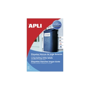 Pack de 280 etiquetas autocolantes em formato A4 de poliéster branco APLI
