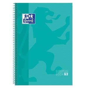 Caderno em espiral microperfurado com faixa de cor, capa de cor azul-clara A4