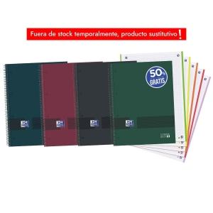 Caderno em espiral azul microperfurado com 4 ou 5 faixas de cor. Formato A4+
